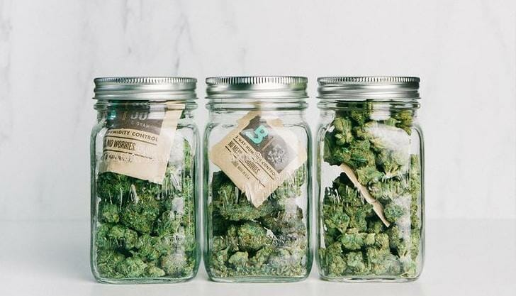 weed in glass jar with Boveda humidity pack for long term storage